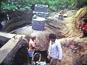 Dome biogas plant being built in Nepal